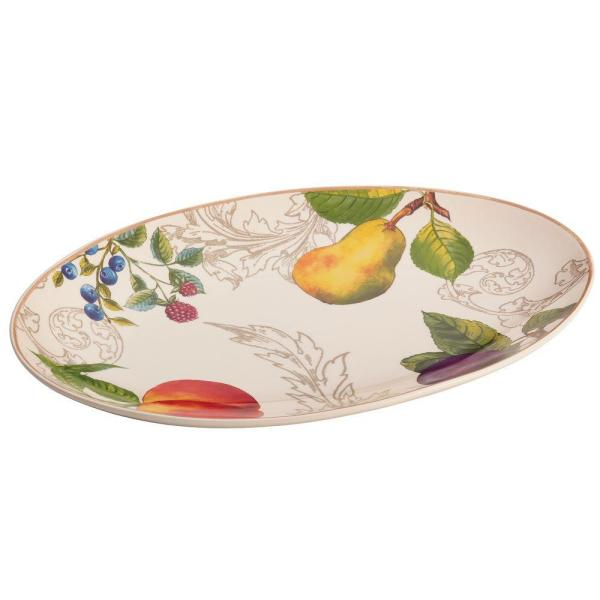 BonJour Dinnerware Orchard Harvest Stoneware 8-3/4 in. x 13 in. Oval