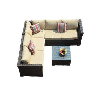 Puerta 4-Piece Steel Wicker Conversation Set with Beige Cushion and Coffee Table