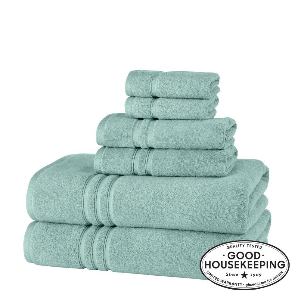 Turkish Cotton Ultra Soft 6-Piece Bath Sheet Towel Set in Aqua