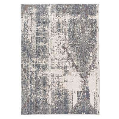 Distressed Contemporary Bohemian Gray 5 ft. x7 ft. Area Rug