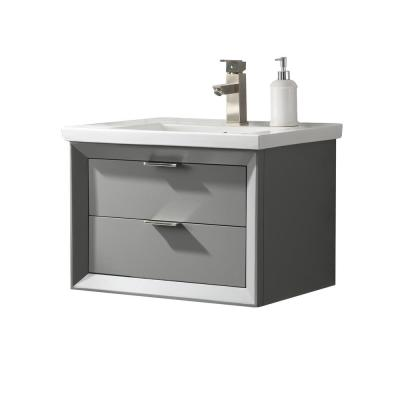 Danbury 24 in. W x 18.5 in. D Bath Vanity in Gray with Porcelain Vanity Top in White with White Basin