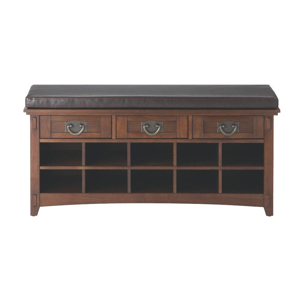 Home Decorators Collection Artisan Dark Oak 3 Drawer Bench With Shoe Storage 9232800930    The Home Depot