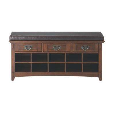 Artisan Dark Oak 3-Drawer Bench with Shoe Storage