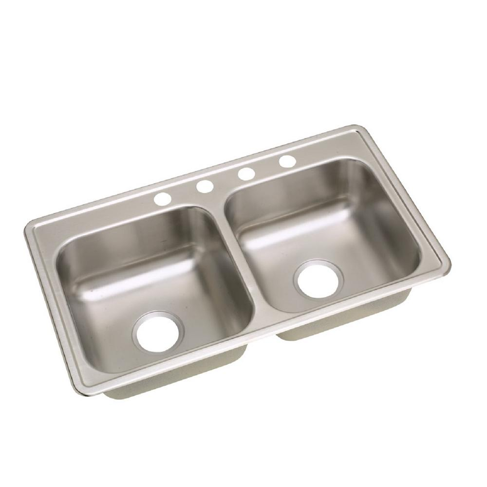 Elkay Neptune Drop-In Stainless Steel 33 in. 4-Hole Double Bowl ...