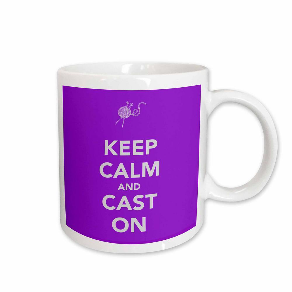 6e17e1602 3dRose Evadane Funny Quotes Keep Calm and Cast On 11 oz. White Ceramic  Coffee Mug