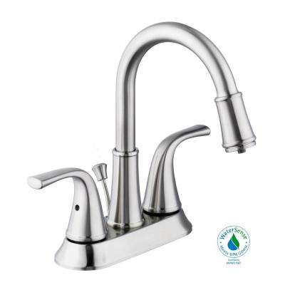 Focus 4 in. Centerset 2-Handle LED High-Arc Bathroom Faucet in Brushed Nickel