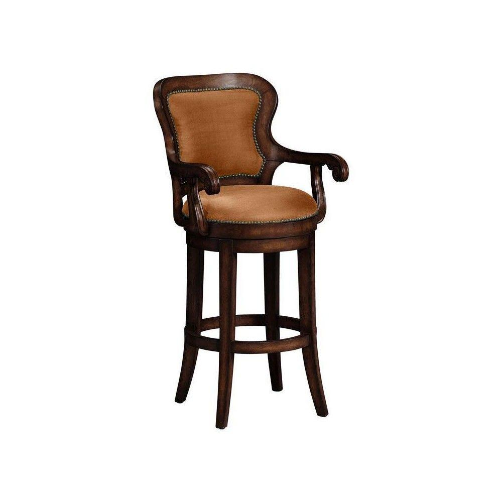 Home Decorators Collection Briarwood Dark Brown with Brown Microfiber Fabric Rounded Back Swivel Bar Stool