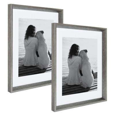 Calter 14 in. x 18 in. Matted to 11 in. x 14 in. Silver Picture Frame (Set of 2)