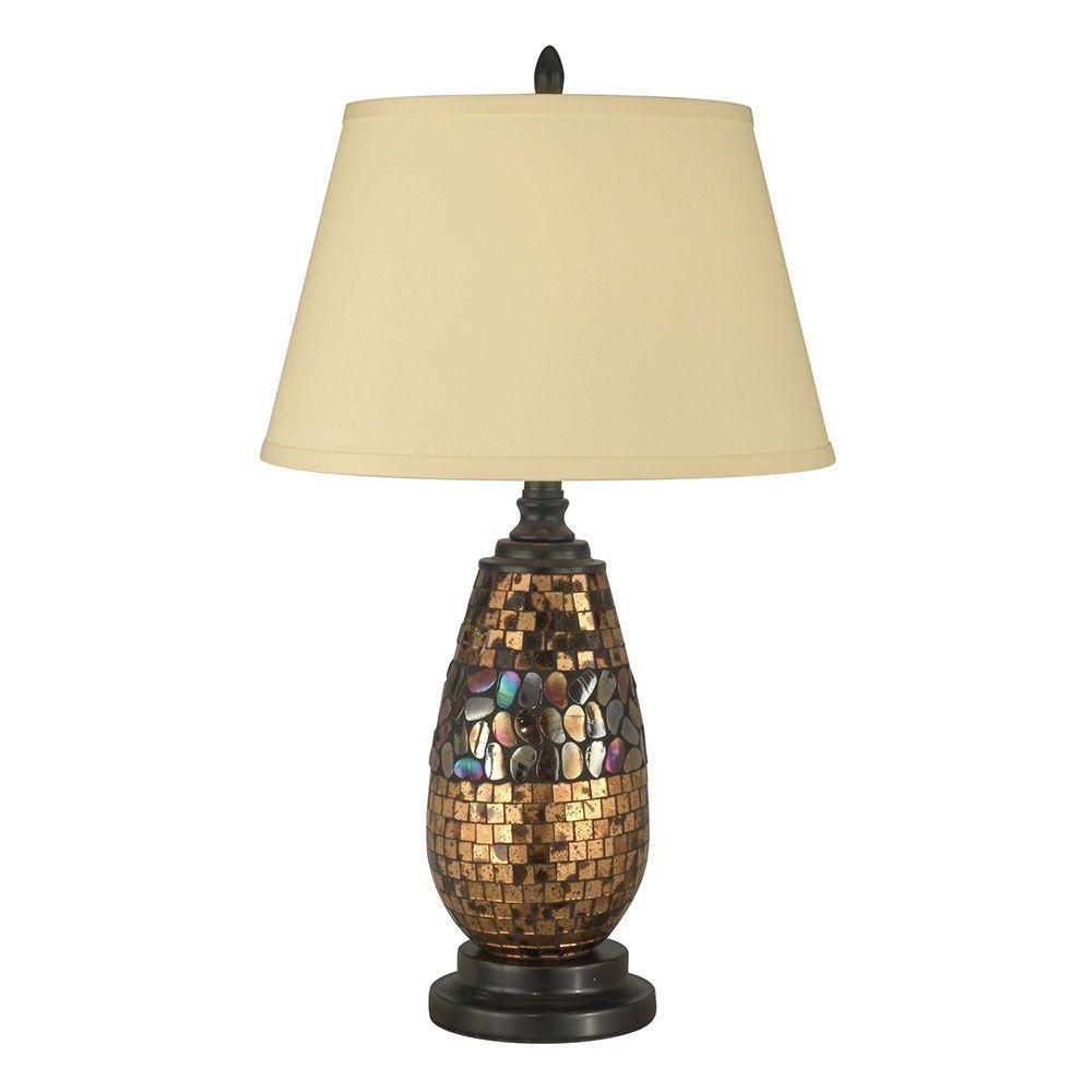 25.5 in. Antique Gold Mosaic Dark Antique Bronze Table Lamp