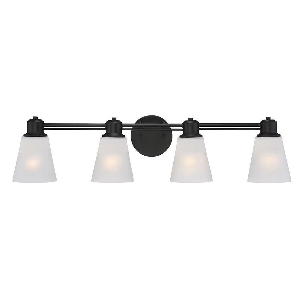 Printers Row 4-Light Oil Rubbed Bronze Interior Incandescent Bath Vanity Light