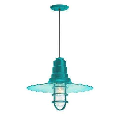 Radial Wave 18 in. Shade 1-Light Tahitian Teal Finish Pendant