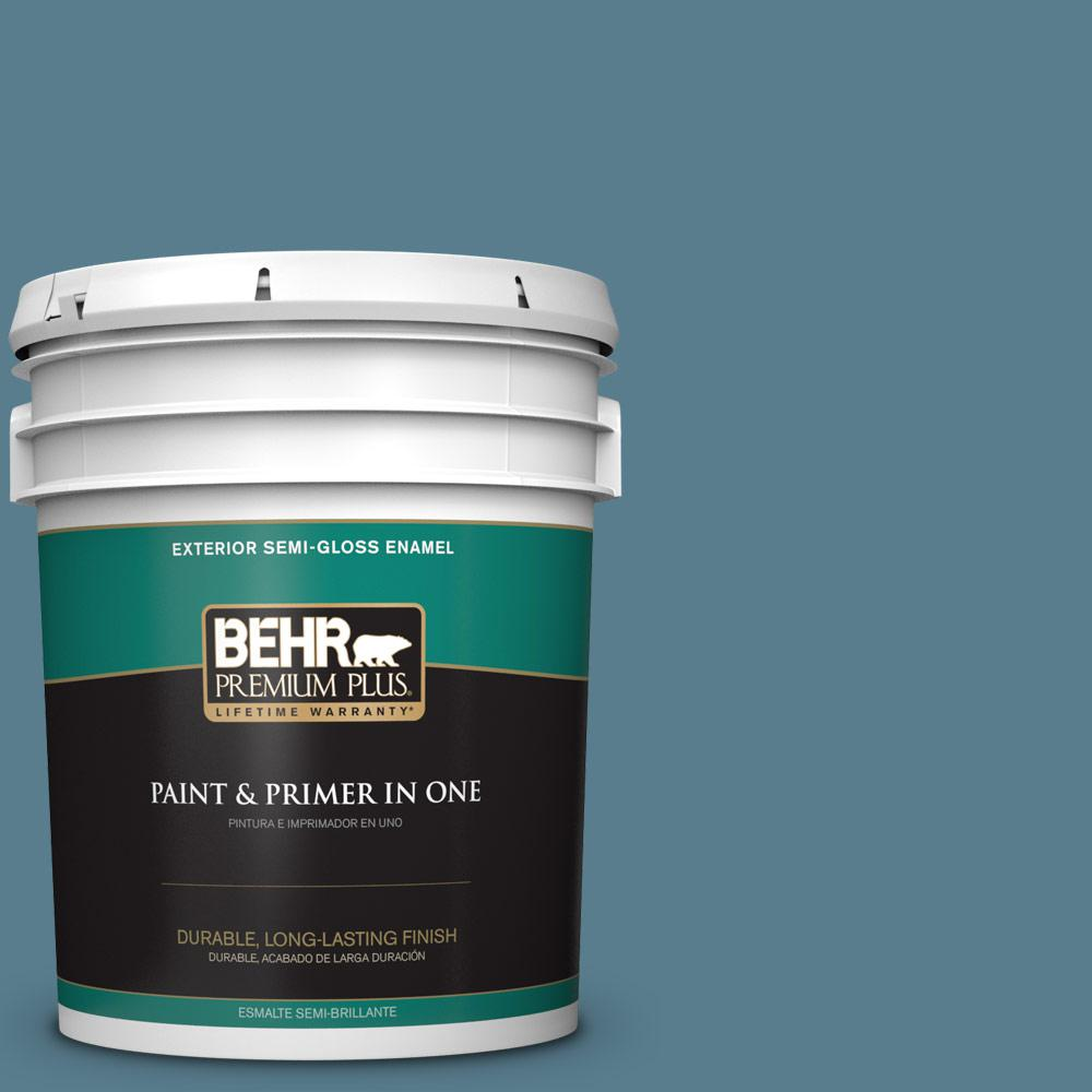 5 gal. #HDC-FL14-11 Cotton Denim Semi-Gloss Enamel Exterior Paint