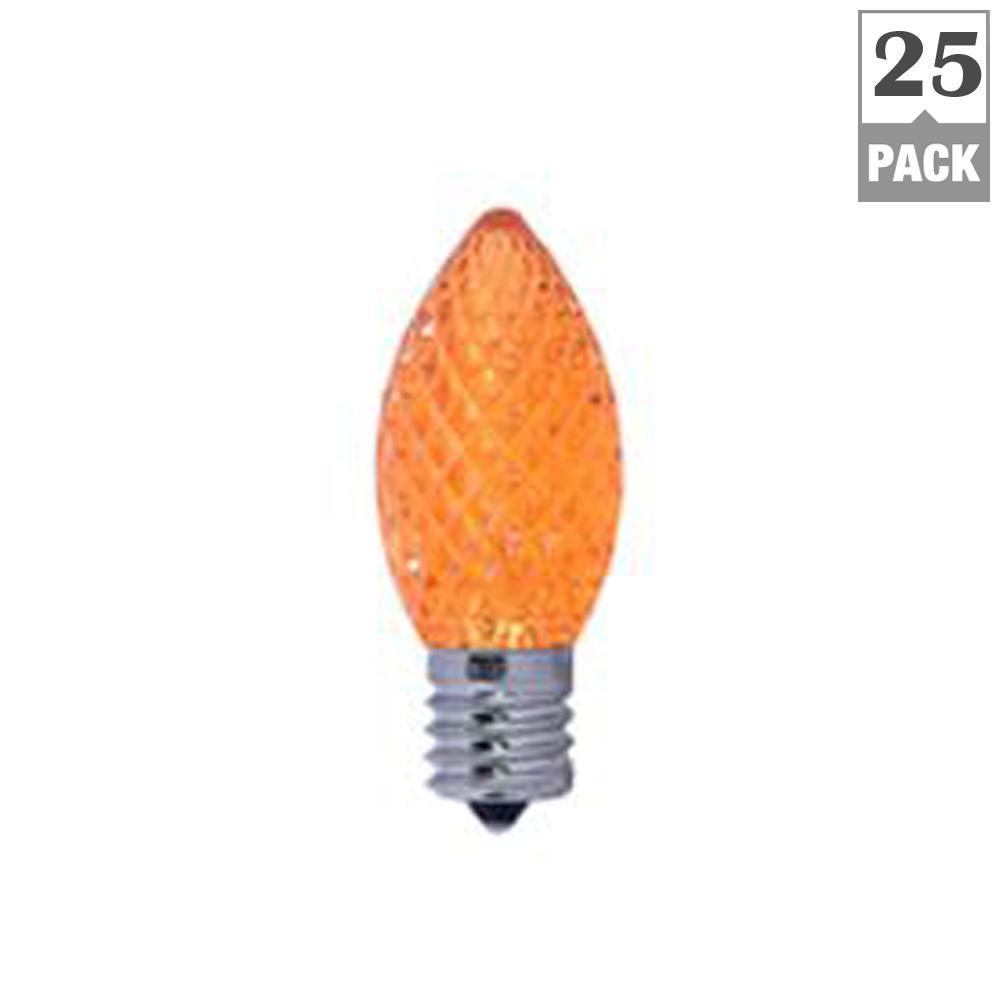 5-Watt Equivalent C7 Non-Dimmable LED Candelebra Screw Light Bulb, Orange Light (25-Pack)