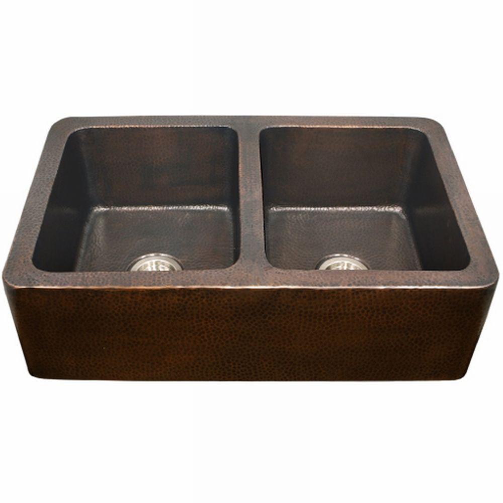 HOUZER Hammerwerks Series Kitchen Farmhouse Undermount Copper 34 in. Double Basin Kitchen Sink in Antique Copper