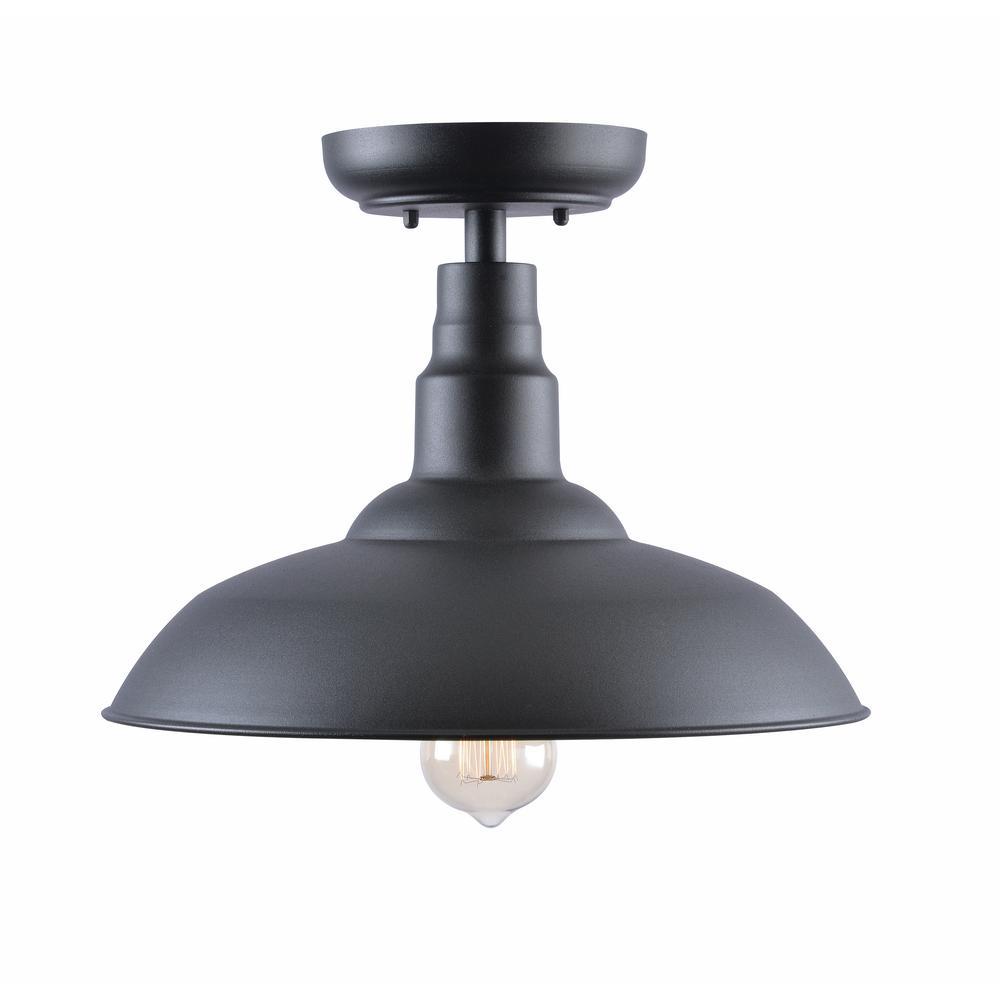 Kenroy Home Dale Large Black Outdoor Semi Flush Mount-93509BL - The ...
