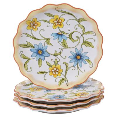 Torino 4-Piece Country/Cottage Multi-Colored Ceramic 9 in. Dessert Plate Set (Service for 4)