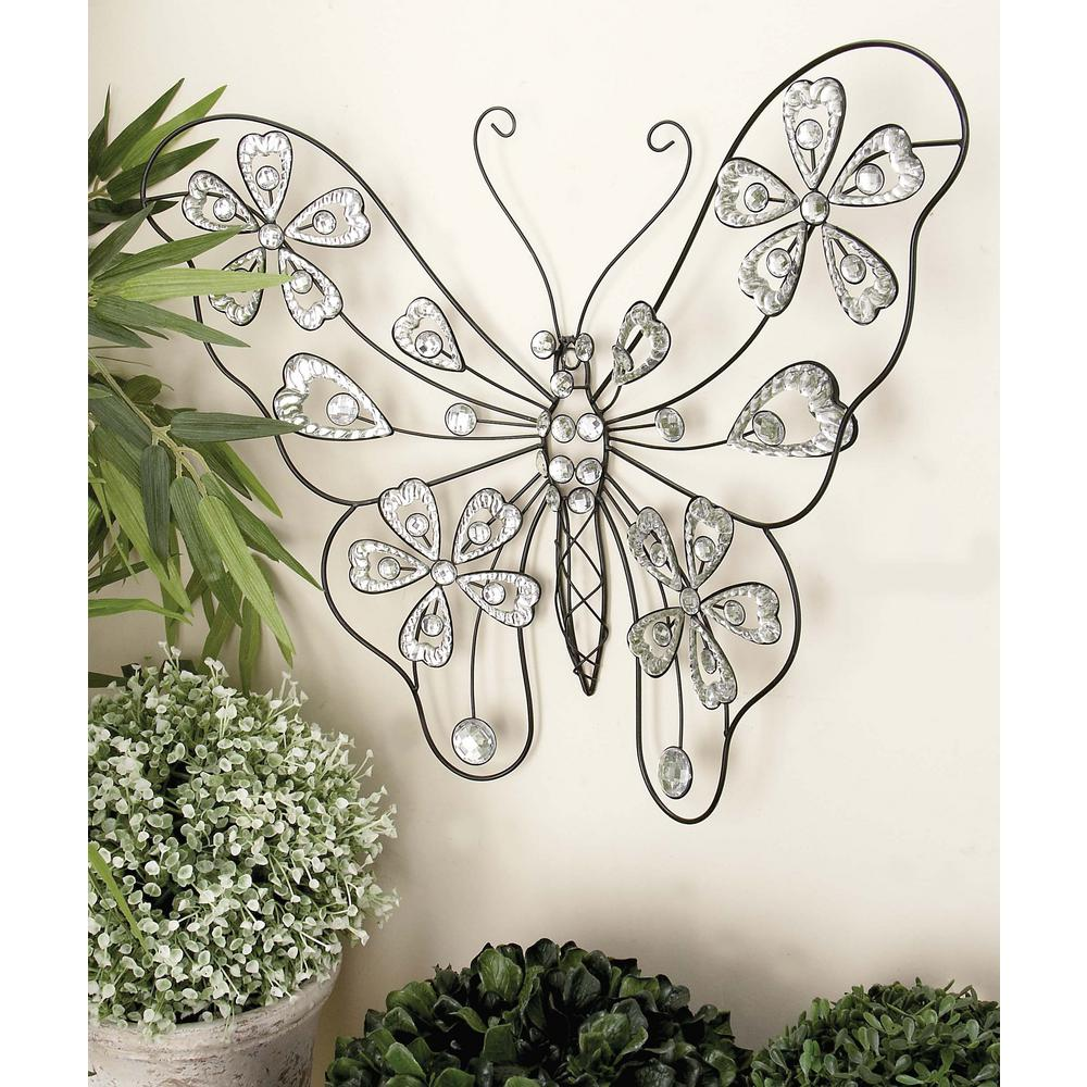 Glitz Inspired Black Iron Wire Butterfly Wall Decor 53024   The Home Depot