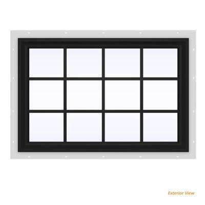 47.5 in. x 35.5 in. V-2500 Series Bronze Painted Vinyl Fixed Picture Window with Colonial Grids/Grilles