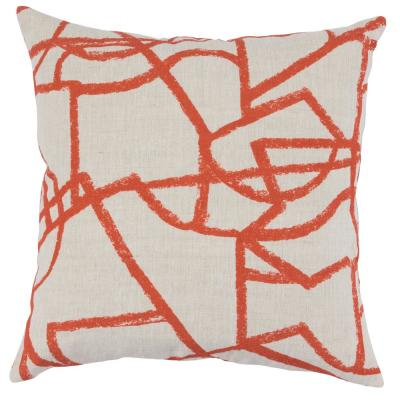 Canyon Persimmon 22 in. x 22 in. Square Linen Hand Block Print Decorative Pillow