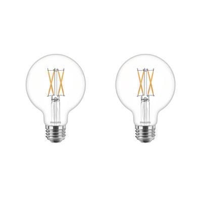 40-Watt Equivalent G25 Dimmable LED Light Bulb Clear Glass with Warm Glow Effect (2700K) (2-Pack)