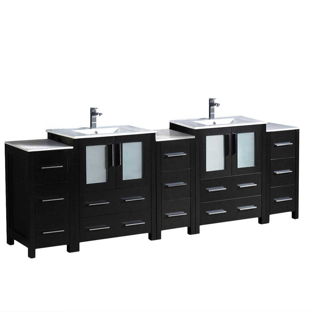 Torino 84 in. Double Vanity in Espresso with Ceramic Vanity Top