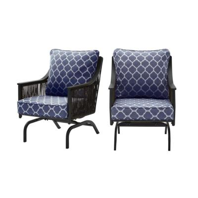 Bayhurst Black Wicker Outdoor Patio Rocking Lounge Chair with CushionGuard Midnight Trellis Navy Blue Cushions (2-Pack)