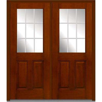 72 in. x 80 in. GBG Right Hand 1/2 Lite 2-Panel Classic Stained Fiberglass Mahogany Prehung Front Door