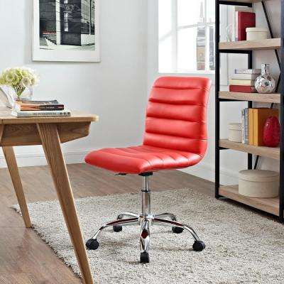 Ripple Armless Mid Back Office Chair in Red