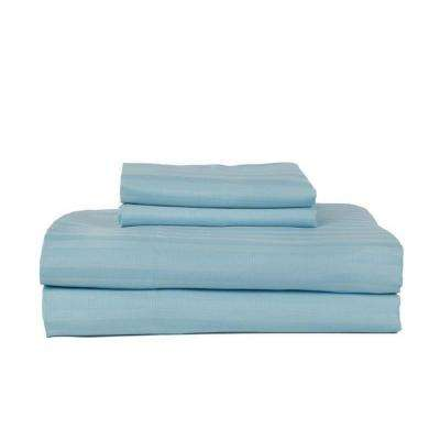 Ocean Blue 400-Thread Count Cotton Rich Stripe Sateen Queen Sheet Set