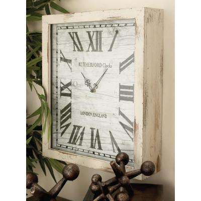 Distressed White Wooden Wall Clock
