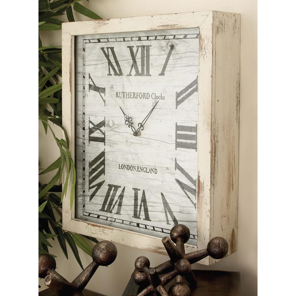 Litton Lane Distressed White Wooden Wall Clock
