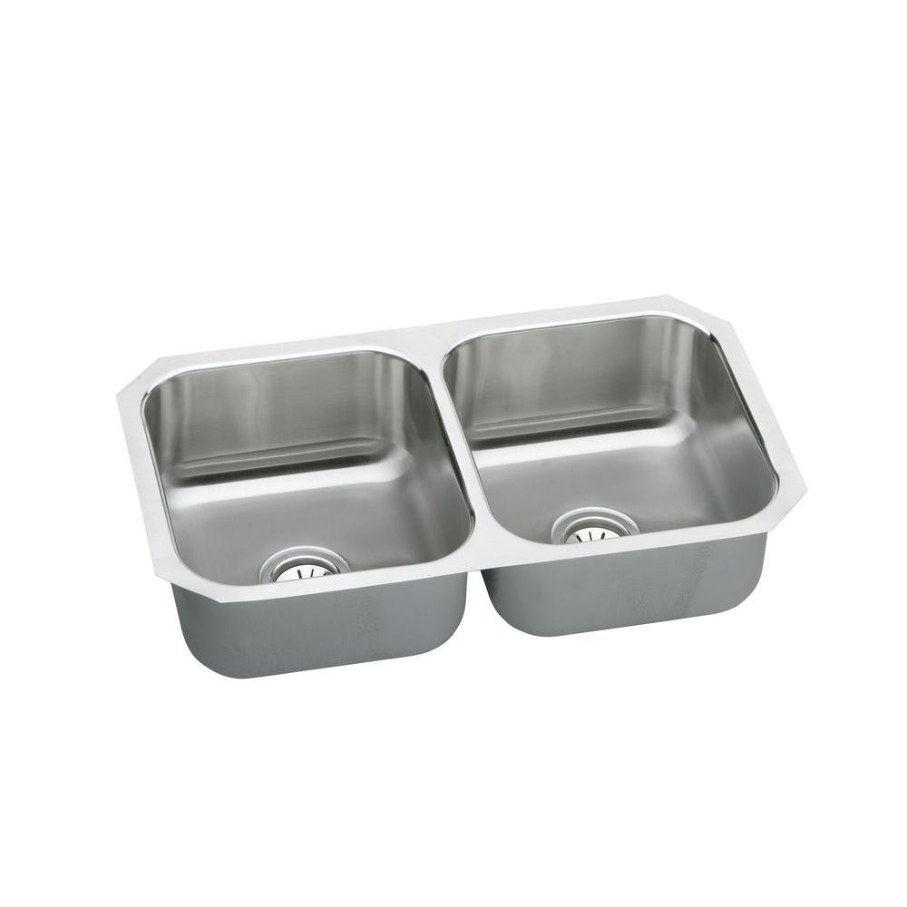 Medium image of elkay neptune undermount stainless steel 32 in  double bowl kitchen sink nuh3118   the home depot