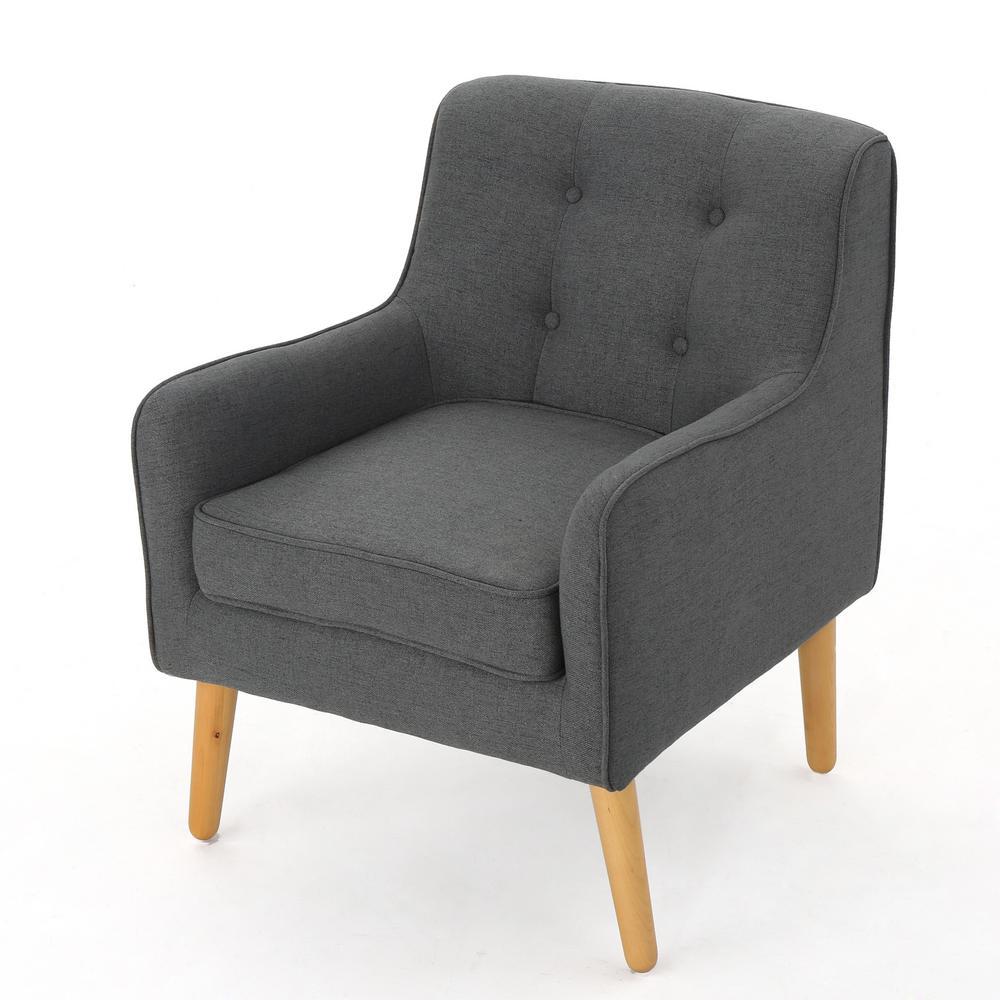 Lennox Charcoal Fabric Mid Century Arm Chair
