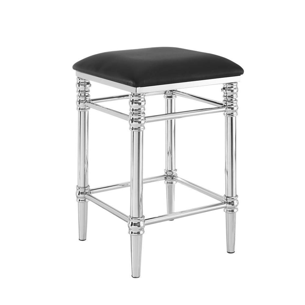 Linon Home Decor Regent 24 In Chrome Cushioned Bar Stool