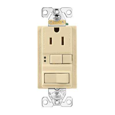 GFCI Self-Test 15A -125V Receptacle with Switch with Mid-Size Wallplate, Ivory