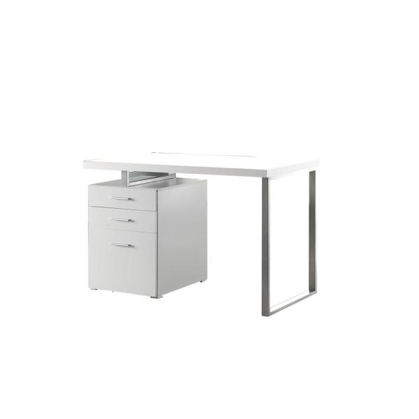 Superb 30 in. H White Metal Office Desk with Reversible Set Up
