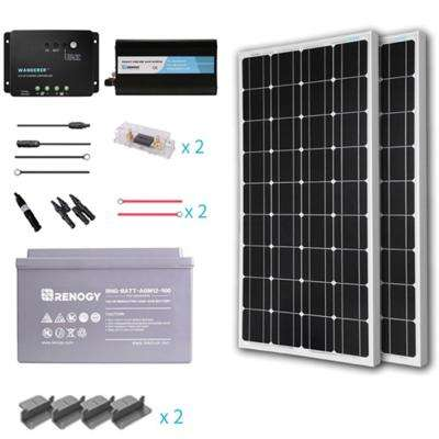 200-Watt Starter Complete Solar Panel Kit Mono Off-Grid Solar with Deep Cycle AGM Battery