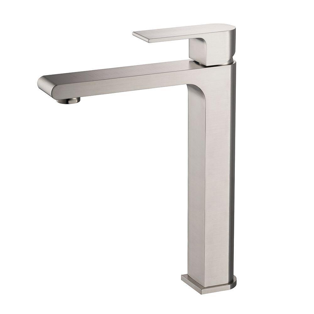 Allaro Single Hole 1-Handle Low-Arc Bathroom Faucet in Brushed Nickel