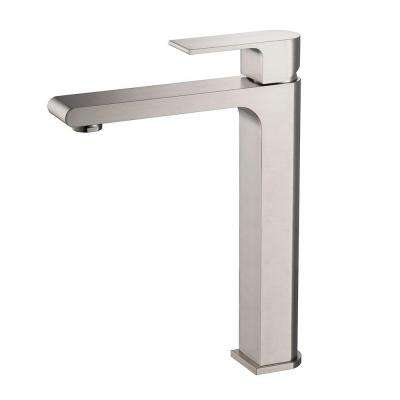 Allaro Single Hole 1-Handle Low-Arc Bathroom Faucet in Brushed Nickel