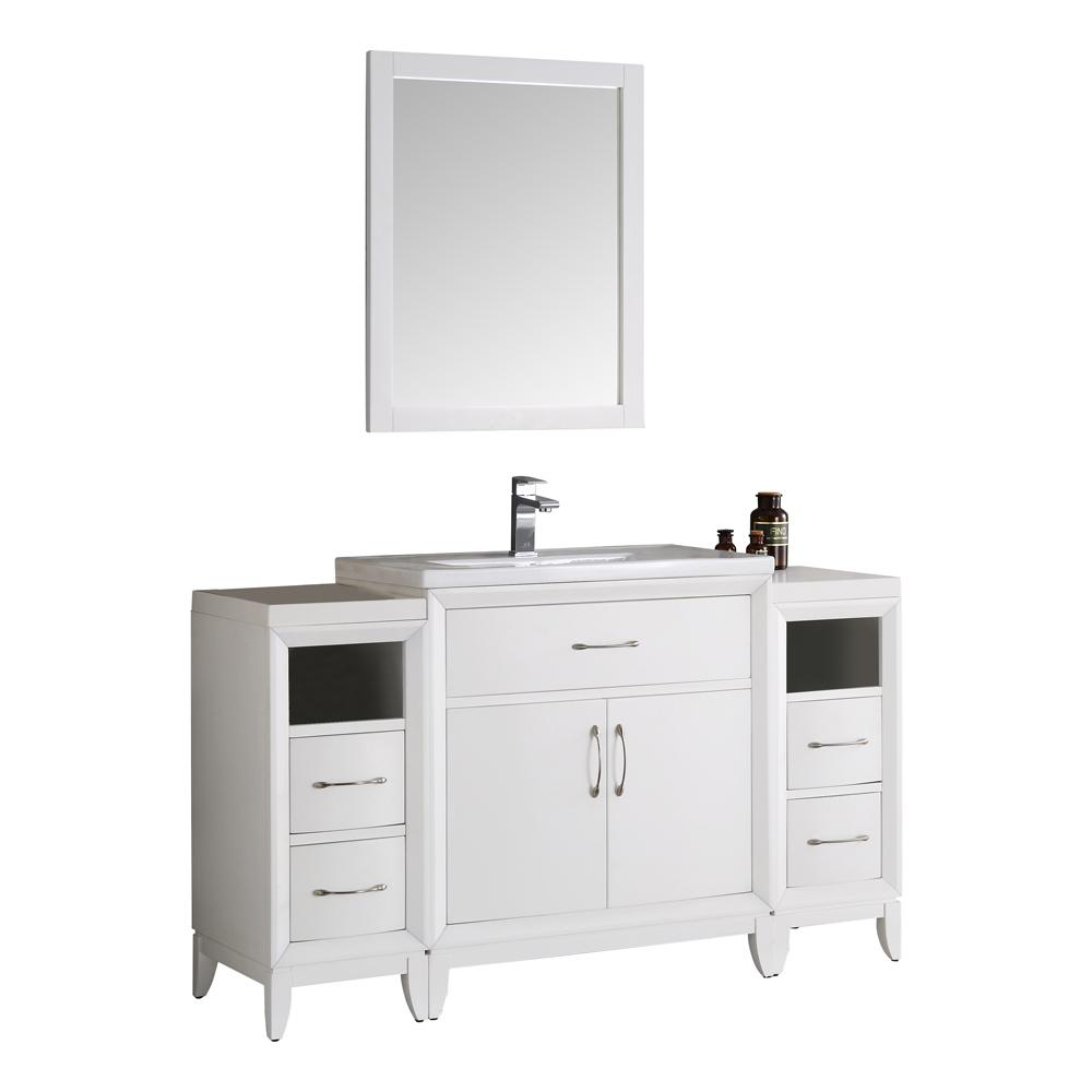 Fresca Cambridge 54 in. Vanity in White with Porcelain Vanity Top in White with White Ceramic Basin and Mirror