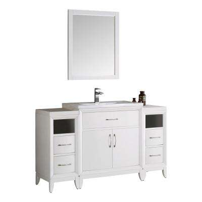 Cambridge 54 in. Vanity in White with Porcelain Vanity Top in White with White Ceramic Basin and Mirror