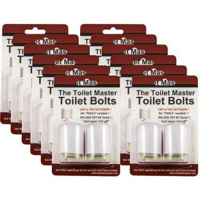 Tool-free Toilet Bolt and Cap System (12-Pack)