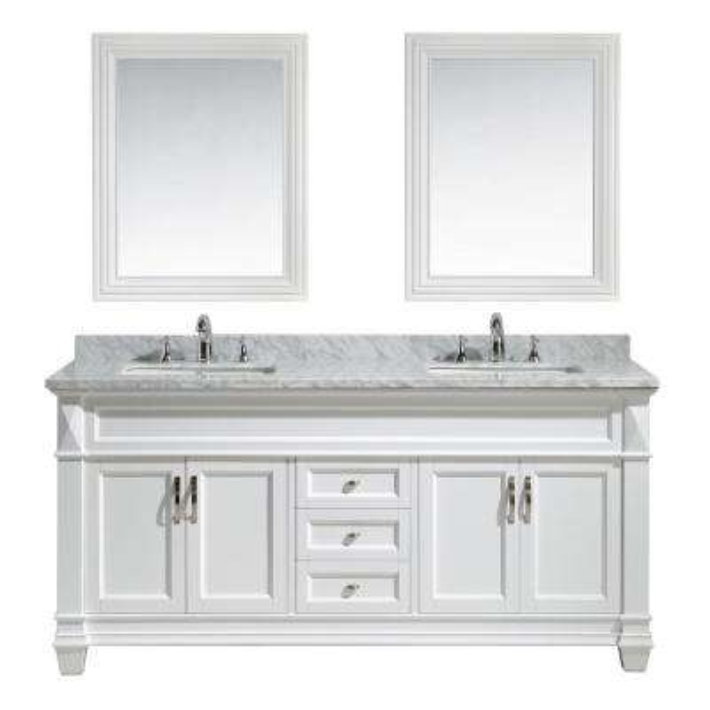 Hudson 72 in. W x 22 in. D x 35 in. H Vanity in White with Marble Vanity Top in Carrara White, Basin and Mirror