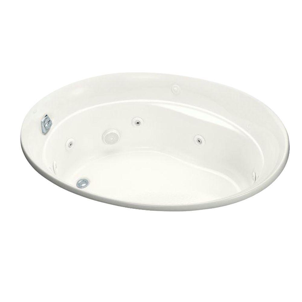 KOHLER Serif 5 ft. Acrylic Oval Drop-in Whirlpool in White