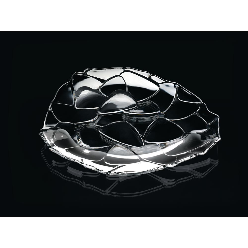 Petals 12.6 in. Crystal Decorative Charger Plate Clear
