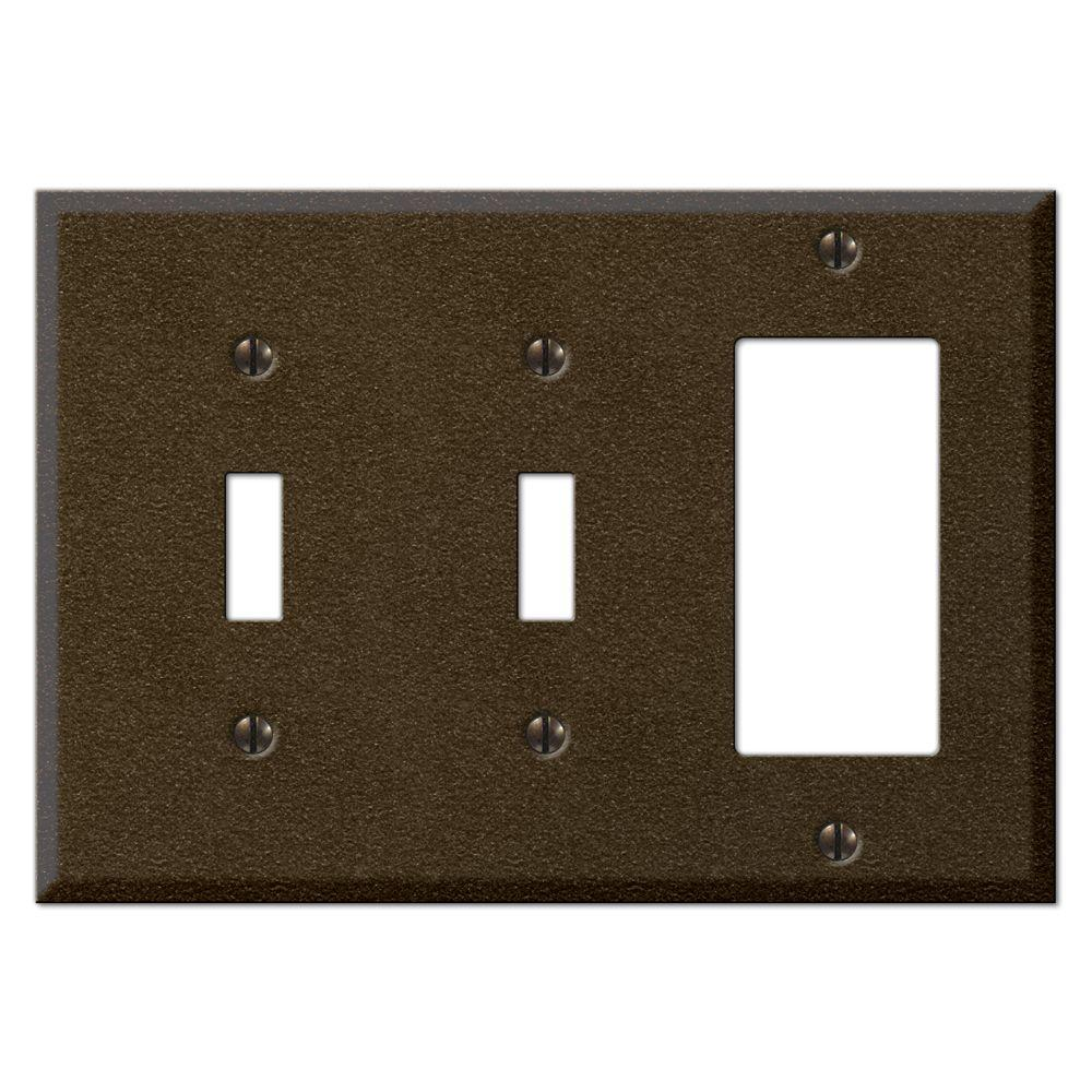 Creative Accents Steel 2 Toggle 1 Decorator Wall Plate - Bronze-DISCONTINUED