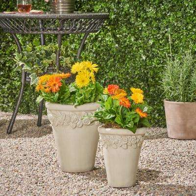 Alba 8.5 in. x 8.5 in. Antique White Concrete Outdoor Garden Planter Pots wth Floral Accents (2-Pack)