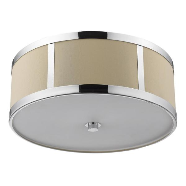 Butler 12 in. Polished Chrome Convertible Semi-Flushmount with Coarse Cream Linen Shade and Opal Acrylic Diffuser