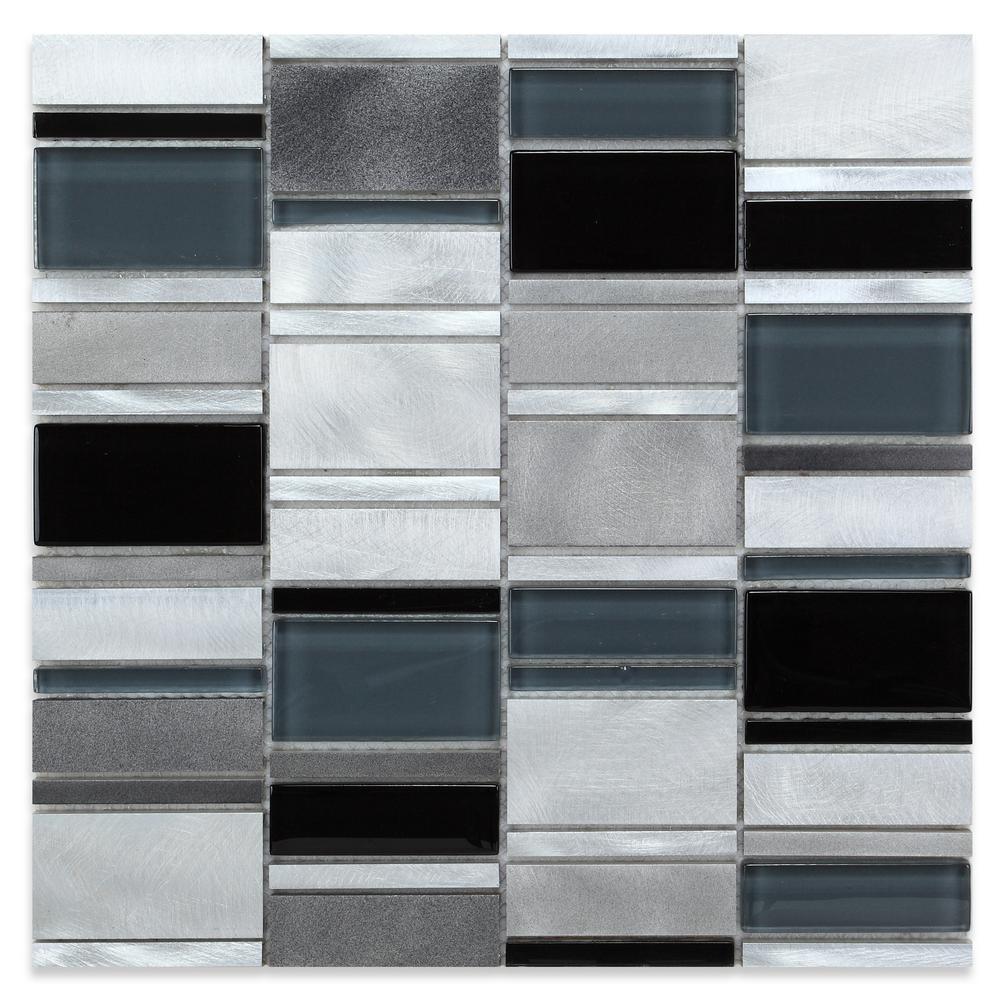 CHENX 11.81 in. x 11.81 in. x 8 mm Aluminum Metal Glass Backsplash in Black and White (10.65 sq. ft. / case)
