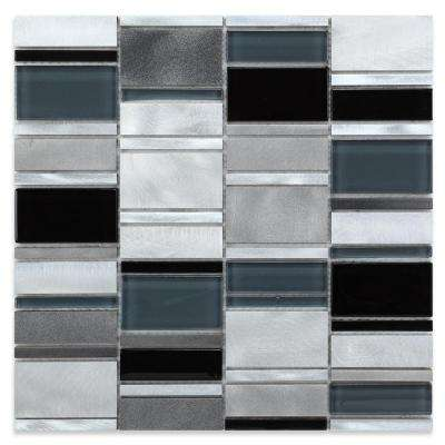 CHENX 11.81 in. x 11.81 in. x 8 mm Aluminum Metal Glass Backsplash in Black and White (10.65 sq. ft. / case)